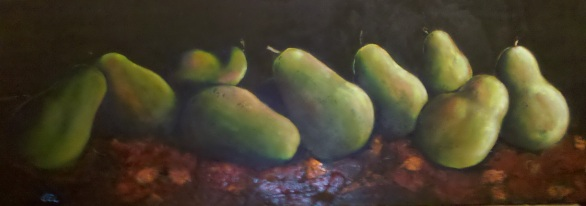 Barbara's Pears - Mixed Media on Wood (Private Collection)
