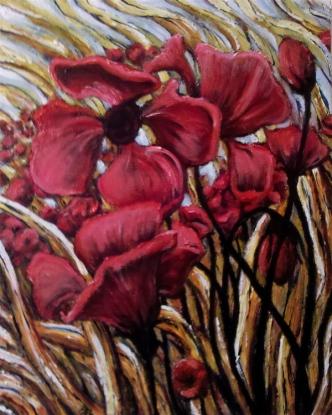 Poppyfield #3- Acrylic on Canvas - SOLD (Providence, RI)