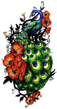 Peacock Tattoo Design - Full Color