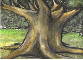 Yggdrasil - Oil Pastel on Paper - For Sale