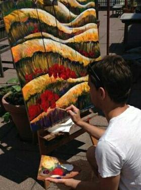 Panel 2 - Fall Sunset - Acrylic on Wood - SOLD (Bethlehem, PA)