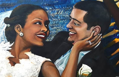 Austin-DuBoulay Wedding Portrait- Acrylic on Canvas - SOLD (Miami Beach, FL)